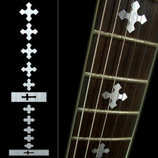 Fret Markers Neck Inlay Sticker Decal Guitar & Bass- Cross Metallic