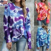 Women's Tie Dye  Long Sleeve Jumper Pullover Ladies Twist Knot Sweatshirt Blouse