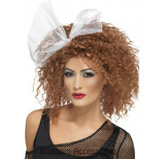 W284 Womens 80's Wild Child Party Costume Wig Brown Madonna Short Curly w/ Bow