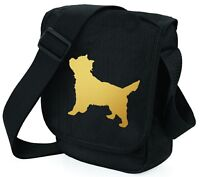 Cairn Terrier Shoulder Bags Metallic Gold / Silver on Black Bag Mothers Day Gift