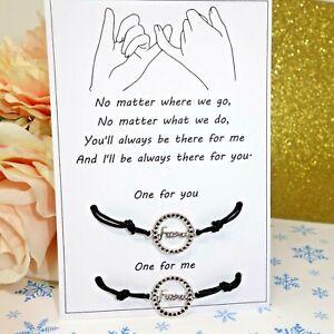Friendship Best Friend Love Promise Charm Card Wish Bracelet set twin Gift Xmas