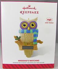 WHOOOO'S WATCHING Owl 2014 Hallmark Christmas Holiday Ornament NIB Solar Motion