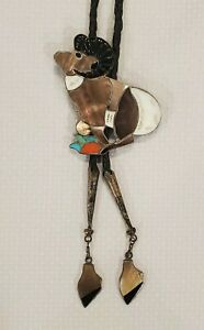 Bennett Mixed Inlay Bolo Tie C-31 Ram Mountain Southwest Silver