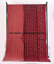 Ajrakh Print Indian Kantha Quilt Throw Bedspread, Reversible Bedding Blanket