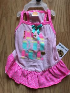 "Simply Dog Pink Rainbow ""BEAUTIFUL"" Summer Dress Puppy/Dog -medium"