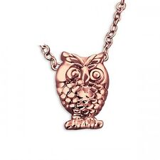 """Rose gold owl pendant 925 sterling silver necklace 18 """" chain & gift bag"""