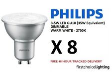 8 x Philips 3.5W (35W) Low Energy DIMMABLE GU10 LED Spot Lamps Bulbs Warm White