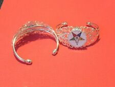 OES ORDER OF THE EASTERN STAR  BANGLE BRACELET WHITE SILVER TONED FREE SHIPPING