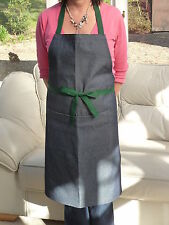 12 Denim Bib Apron with Bottle Green  Tapes with FREE delivery