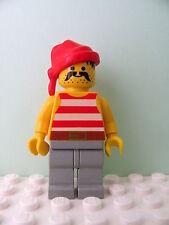 LEGO Minifig pi044 @@ Pirate Red / White Stripes Shirt, Red Bandana 6277