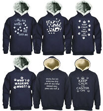Sweatshirt Hooded Keep Calm Crazy Dog Lady Whos Upside Down Canter On Paw Print