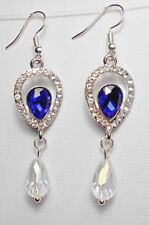 Dangle earrings - Blue + white crystals drop, 63mm long