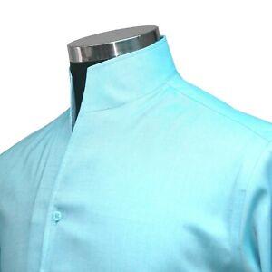 Sea Blue High Open Tall Neck Collar Band Buttonless 100% Cotton Men Dress Shirt