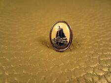 Vintage Delft Porcelain White Gold Plated (Silver Tone) Tie Tack or Lapel Pin