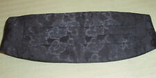 Vintage Black Satin Paisley Pleated Cummerbund Silk? + Maroon Red Bow Tie EUC