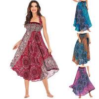 Women Flowers Long Hippie Bohemian Gypsy Boho Elastic Waist Floral Halter Skirt