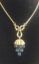 Gorgeous Vintage Trifari Blue Sapphire Rhinestones Pendant Goldtone Necklace