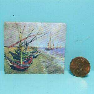 Dollhouse Miniature Canvas Painting Picture Van Gogh Sail Boats on Shore G7218