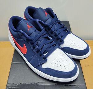 Nike Air Jordan 1 Low SE Navy Blue Red White USA CZ8454-400 New W/Box Size 11 DS