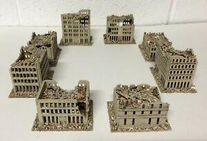 6mm set of 8 Ruined buildings, unpainted kits.