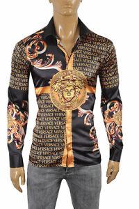 VERSACE Medusa Men's Dress Shirt Long Sleeve Black and Gold 178 Size XL