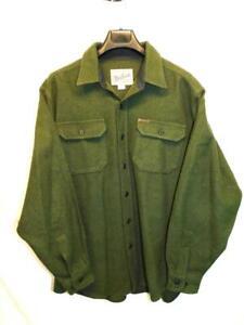 Woolrich XL Fatigue Green Wool Shirt Jacket Chest Pockets Heavy Weight Mens XL