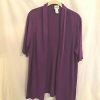 Chicos Womens Cardigan Tunic Sweater Purple Open Front Short Sleeve Size 3