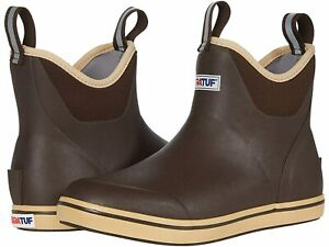 """NEW Men's 22734 Xtratuf 6"""" Full Rubber Ankle Deck Boot Choc/Tan Fishing Boots 10"""