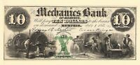 1854 Ten Dollar Mechanics Bank Memphis TN Obsolete Currency Hand Signed Numbered