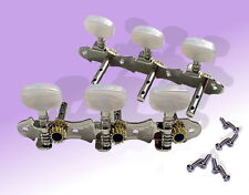 6 String Guitar Machine Heads (3 + 3) Scalloped Open Cog Chrome Tuners UK