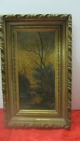 Rare Vintage Oil Painting Cows, Stream & Trees Framed