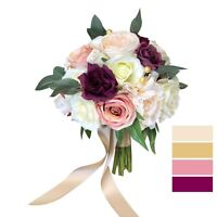 Wedding Bouquet in Sangria, Blush, Dusty Pink, and Ivory Artificial Rose Peony