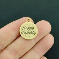 Happy Birthday Stainless Steel Charm - Hypoallergenic Gold Plated -BFS1701GOLD