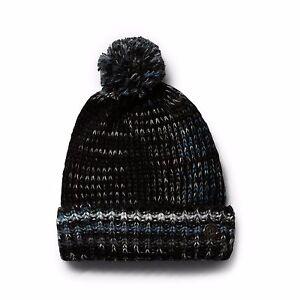 NWT WOMENS VOLCOM TRUCKEE BEANIE $30 black pom multi knit slouchy fit