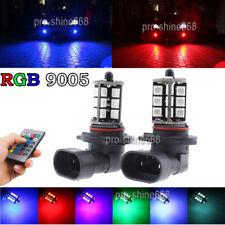 2X 9005 H10 HB3 LED Car Fog Driving Light Bulbs Multi-Color RGB + Remote Control
