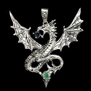 Unheated Round Emerald 5mm Blue Sapphire Gems 925 Sterling Silver Dragon Pendant