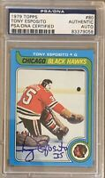 1979 1980 TOPPS Tony Esposito AUTO PSA DNA AUTOGRAPH #80 Blackhawks Chicago