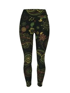 Fall Color Paisleys & Flowers Yoga One Size Leggings OS Buttery Soft FREE SHIP