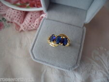 Antique Vintage Gold Dress Ring trio of Dark Sapphire  Blue Stones size 7 or O
