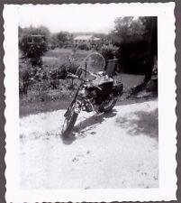 VINTAGE PHOTOGRAPH MOTORCYCLE MOTOR-BIKE SADDLE BAGS WINDSHIELD OLD BIKE PHOTO