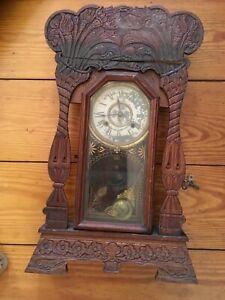 Antique NEW HAVEN Clock Co' Gingerbread Parlor Mantel Shelf Clock NEEDS REPAIR