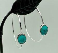925 Sterling Silver Large Hoop Earrings Turquoise Gemstones Natural Stone Hoops