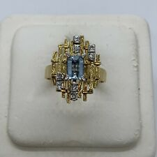 Vintage 18k yellow gold signed aquamarine diamond modernist grid ring sculptural