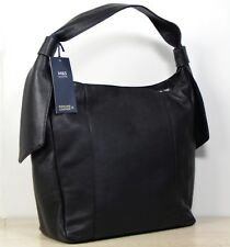 M&S Soft REAL LEATHER Larger Size HOBO Style HANDBAG in BLACK (rrp £85)