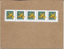 SCOTT 4495 ART DECO BIRD PLATE # STRIP OF FIVE MNH