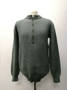 Genuine Vintage Swiss Military Knitted M74 Jumper Grey Wool Winter Pullover