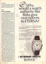 1974 Birks Jewellers Eterna-Matic Watch Print Advertisement Ad Vintage 1970s