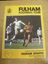 30/12/1977 Fulham v Oldham Athletic  (Light Crease). Item appears to be in good