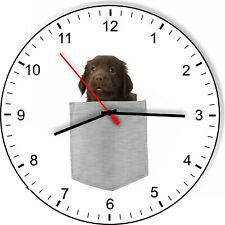 New ListingFlat Coated Retriever In Your Pocket Dog kitchen living room Wall Clock