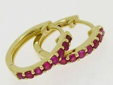 E027 - LOVELY Genuine 9ct SOLID Gold NATURAL Ruby HUGGIE Earrings Hoops